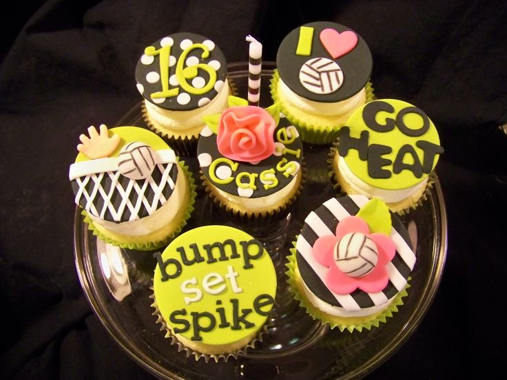 - Volleyball themed cupcakes for a friend's daughter who is celebrating her 16th birthday. Her team's colors are lime green and black.  White cake/buttercream icing, fondant decorations.