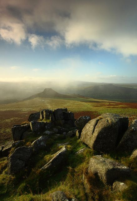Dartmoor as the mist clears - spent many happy hours walking Dartmoor as a baby sailor.