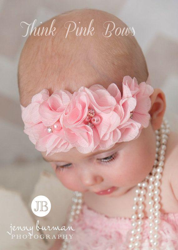 Baby Headband, Pink Baby Headband,Baby Headbands,Newborn Headband,Shabbby Chic Headband, Girl Headband,Easter Headband, Baby hair bows. on Etsy, 5,22 €
