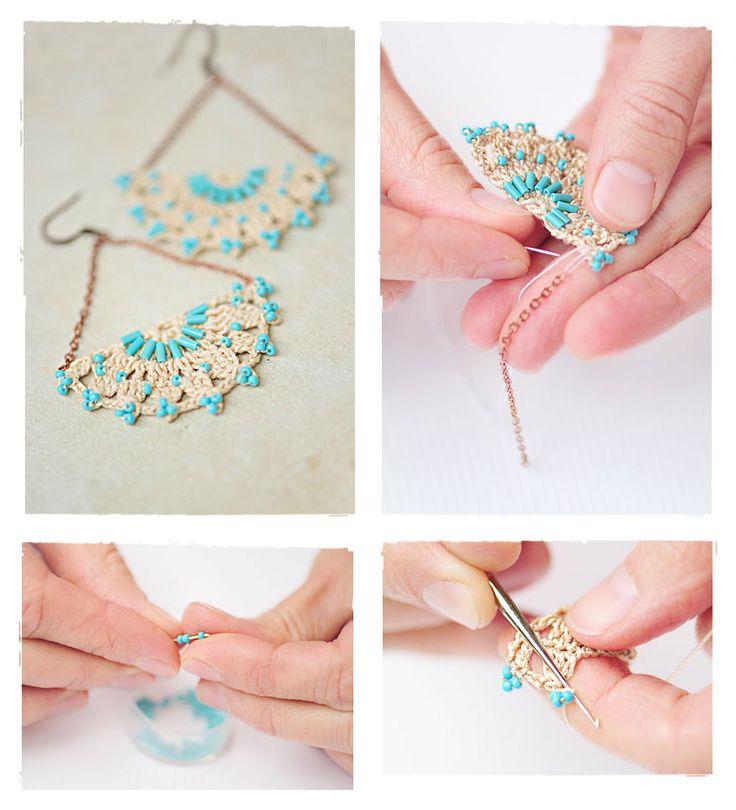 Crochet earrings - tutorial & free pattern (russ)