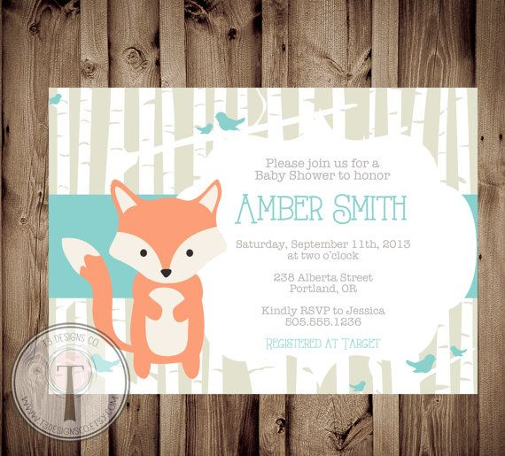 baby fox baby shower invitation baby shower invite by t3designsco 12