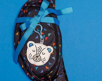 Reflective bag charm animal teddy bear for your bag, backpack, belt bag. Road safety bag keychain, fabric toys for kids & teens.
