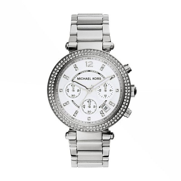 Michael Kors Parker Bracelet Watch Silver Watches No Size ($400) ❤ liked on Polyvore featuring jewelry, watches, silver, chronograph watch, sparkly watches, michael kors jewelry, silver chronograph watch and chronograph watches