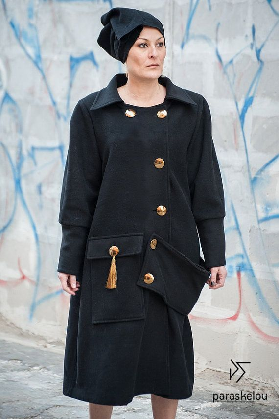 Unique black wool coat loose fit embellished by paraskeloufashion
