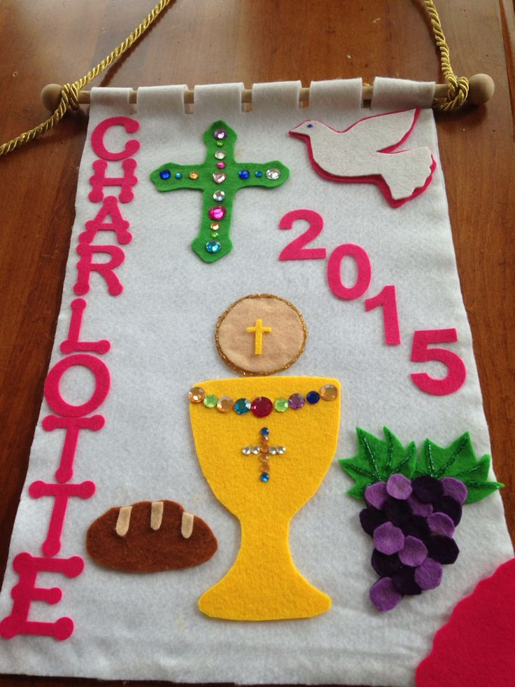 Home made first communion banner. Used traceable printouts for shapes #firstcommunion