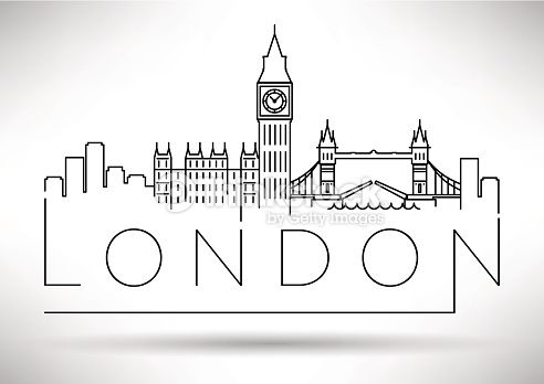 Vector Art : London City Skyline Silhouette Typographic Design