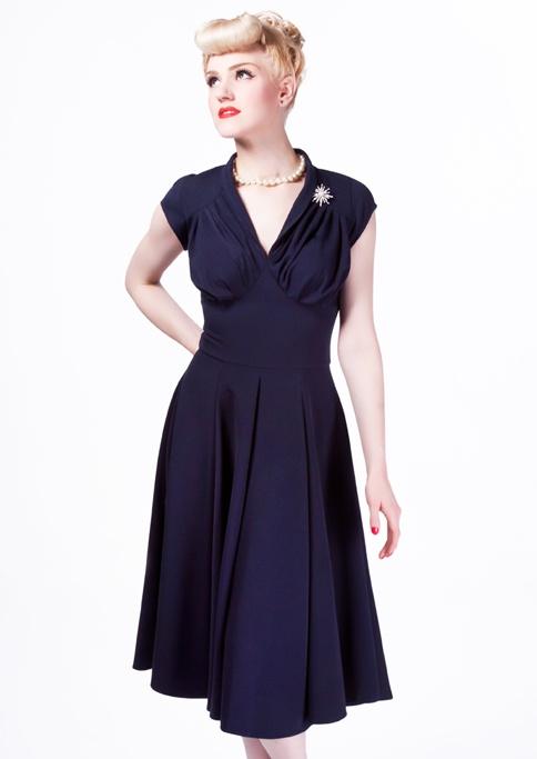 Classic Retro Dress - dark blue