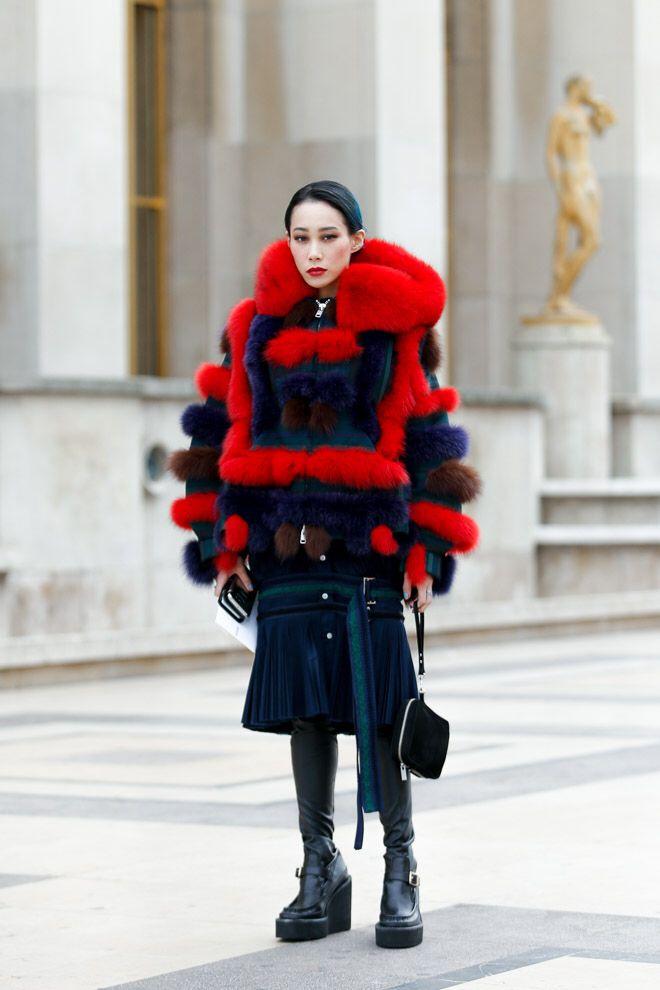 Street Style of Paris: Mademoiselle Yulia #sacai   More photo at Fashionsnap.com