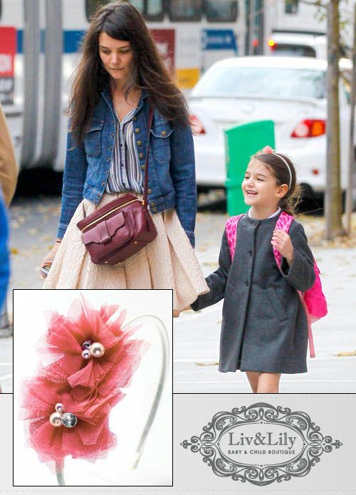 "Celebrity Baby Scoop features Suri Cruise wearing our ""Chloe"" headband in Blush  http://www.livandlily.com/ecom/index.php?route=product/category=20_105"