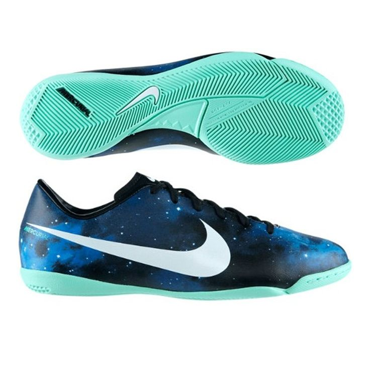 Nike CR Youth Mercurial Victory IV IC Indoor Soccer Shoes (Dark Obsidian/Green Glow/Black/Metallic Platinum)