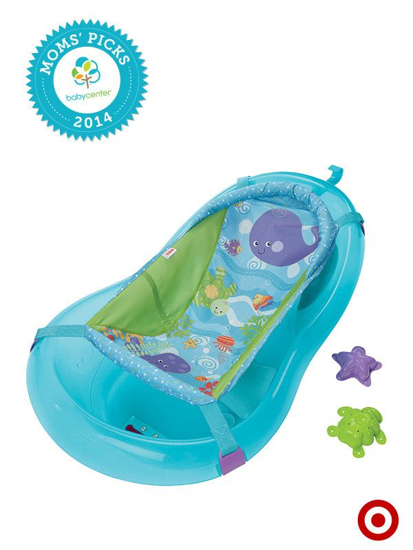 A BabyCenter Top Pick, the Fisher-Price Bath Center keeps Baby comfortable from newborn through toddler stages. Parents like the soft arm cushions and handy drain plug, too.