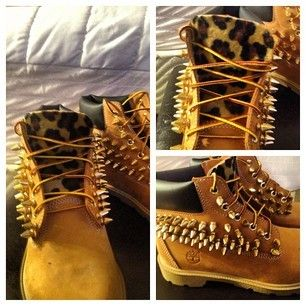 "Classic 6 inch Waterproof Nubuck Timberlands With a twist. 50Spikes on each side. The color is your choice between Gold, Silver, and Black 1/2"" Tree Spikes. *These Shoes Can get Heavy* Our Spikes are of high quality. The are all Nickel Plated. The spikes are Screw back that pierce the timberland leather. and are screwed on then Glued with industrial glue to insure a long lasting Boot. If you love Sp!kes then these shoes are a MUST HAVE! Customize these boots to your likin..."