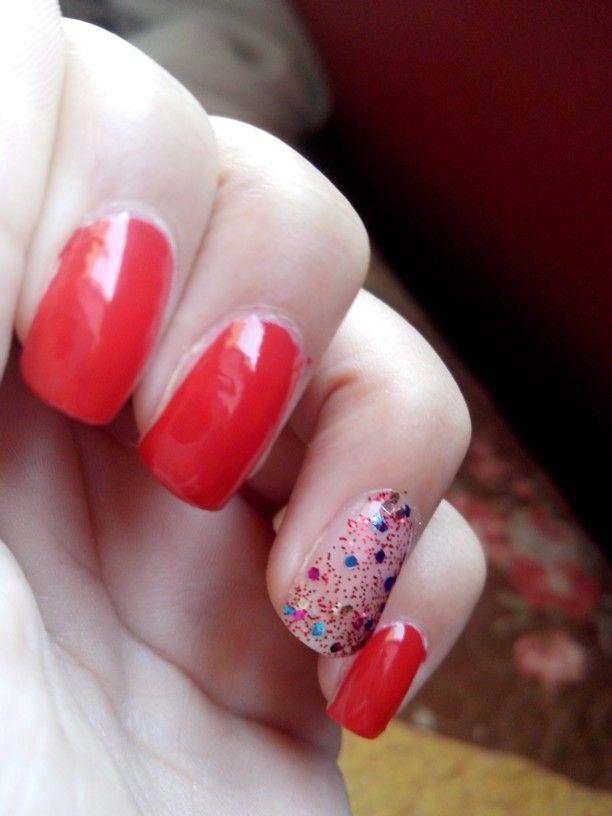 #nail #rojo #glitters #bymy