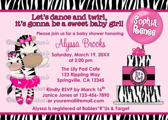 40 best it's a girl images on pinterest | zebra baby showers, Birthday invitations