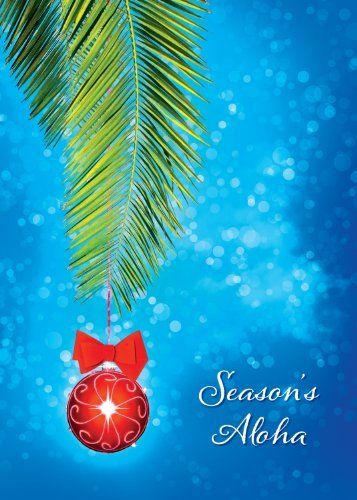 """Hawaiian Christmas Cards (12) - Hawaiian Christmas Ornament - Season's Aloha GLITTER Card by Pacifica Island Art. $29.98. This Holiday Season send out Warm Wishes of Aloha with our Earth Friendly Hawaiian themed Greeting Cards. These uniquely Hawaiian cards feature both English and Hawaiian Greetings. Click on image to view the actual imprinted greeting on the inside of the card. Includes twelve 5"""" x 7"""" cards and twelve white envelopes."""