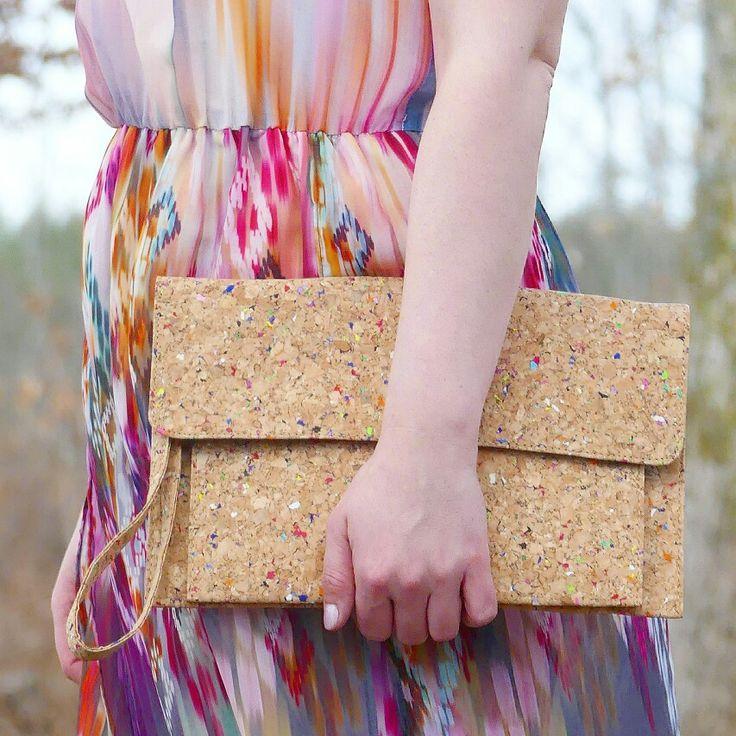 pochette en liege  colorfull robe motif aztèque