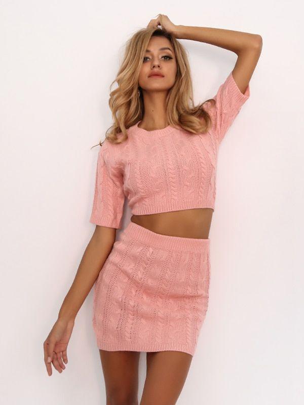 5fabf185c3 Joyfunear Solid Mixed Knit Crop Top & Skirt Set -SheIn(Sheinside ...