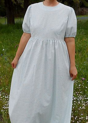 Ladies-Dress-Edwardian-modest-long-full-Blue-white-floral-L-14