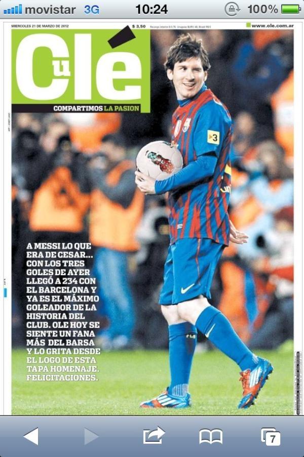 Portada del periódico deportivo argentino Olé, hoy llamado Culé