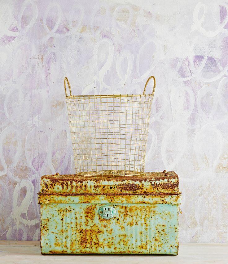 Robert Gordon Australia SS15 Brass storage basket. Styling by Hannah and Kate Gordon. Photo by Jarrod Barnes