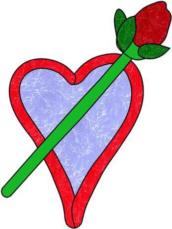 valentine rose in glass