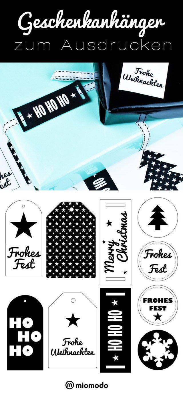 Geschenkanhänger zum Ausdrucken Weihnachten