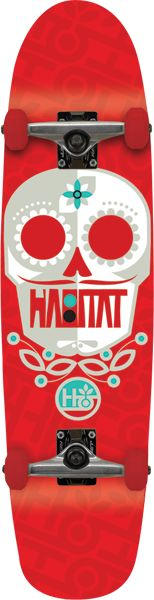Habitat Skateboards Sugar Skull Small Complete Skateboard 7.9 Red