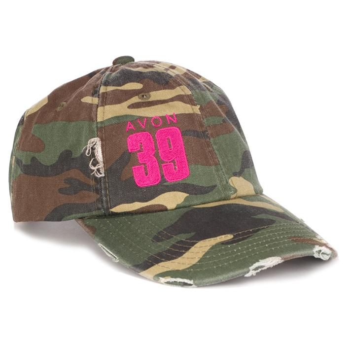 39 miles is tough, you're tougher. This 100% cotton twill, distressed camo cap has a casual, low, unstructured profile. The adjustable, hideaway strap has a metal D-ring slider. Magenta AVON 39 embroidered on the front. Net proceeds go to the Avon Breast Cancer Crusade.  Regularly $25.00.  Buy online at snalley.avonrepresentative.com