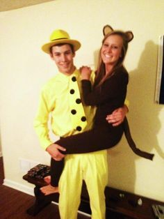 couple costume! Haha curious George. This is so cute. ha   best stuff