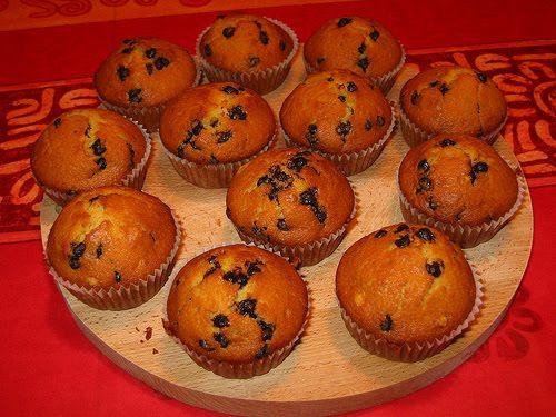 Dosi per 10 muffin: 225 g di farina 00 36 g di amido di mais o fecola di patate 15 g di lievito in polvere 90 g di zucchero di canna 90 g di cioccolato in gocce 75 g di uova intere 285 g di latte fresco intero 70 g di burro 6 g di rum