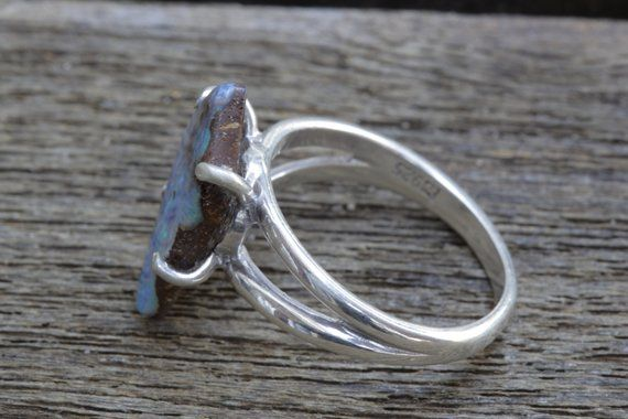 Opal Ring Solid Boulder Opal With Turquoise Color Sterling Silver Set Rare Precious Natural Australian Opal For Creativity And Connection Opal Rings Australian Opal Rings