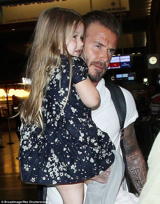 Daddy's girl: David is a doting dad to adorable Harper and her three older brothers Brooklyn, Romeo and Cruz