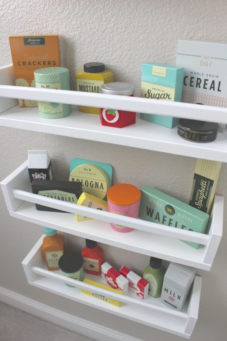 Put all the play food in cute little shelves on the wall!
