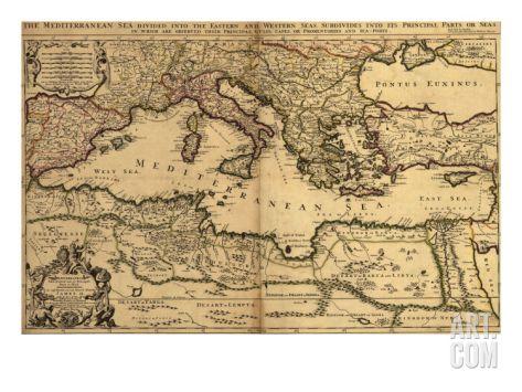 1685 Map of the Mediterranean Sea and Coastal Lands Premium Poster at Art.com