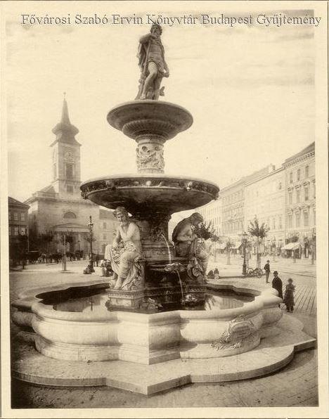 A Danubius-kút 1883 körül  a Kálvin téren - Forrás: bpkep.fszek.hu