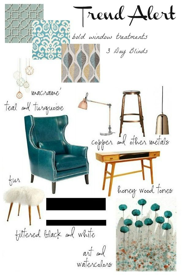 "2014 home decor trends ... teal is ""in"" (but I could do without the furry stool -- just doesn't go with my furry cat)"