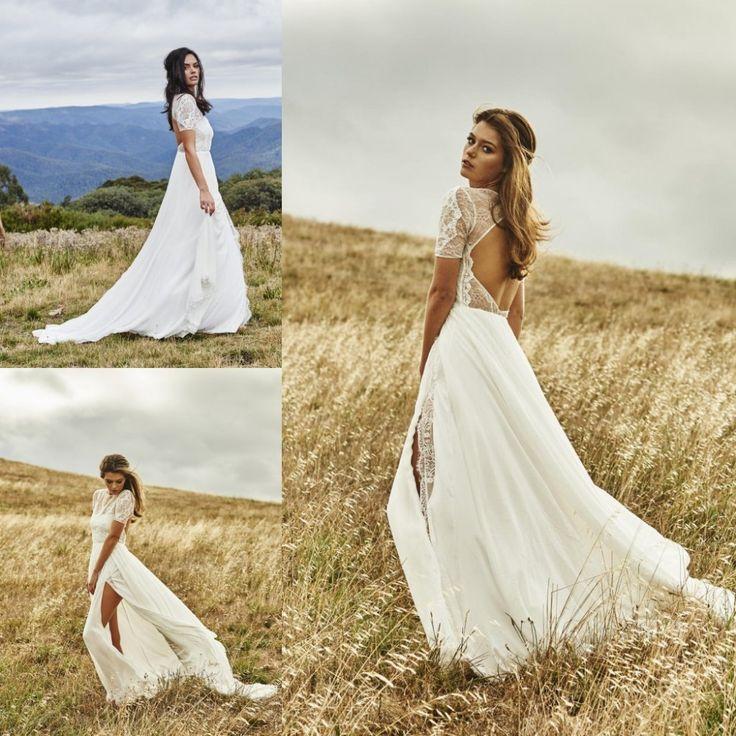 Stunning Backless Bohemian Wedding Dress With Sleeves Lace Vestidos De Novia Side Split Summer Beach Dresses Under 100Beach