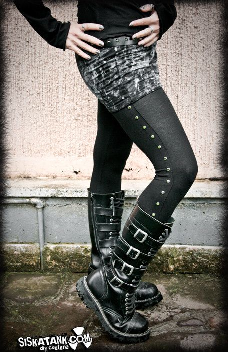 STUDDED black industrial  LEGGINGS by siskatank