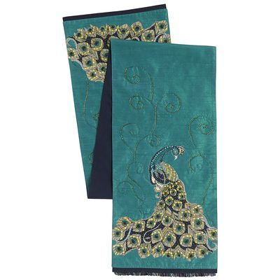 Regal Teal Peacock Table Runner Peacock Passion