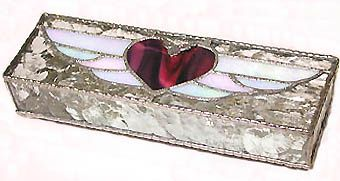 "Cranberry Heart Stained Glass Jewelry Box - 3 1/2"" x 10 1/2"" - $42.95  - Handcrafted Stained Glass Heart Design  * More at www.AccentOnGlass.com"