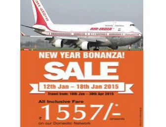 Air India New Year Sale : Fly at just Rs.1557 On Domestic Routes - Best Online Offer
