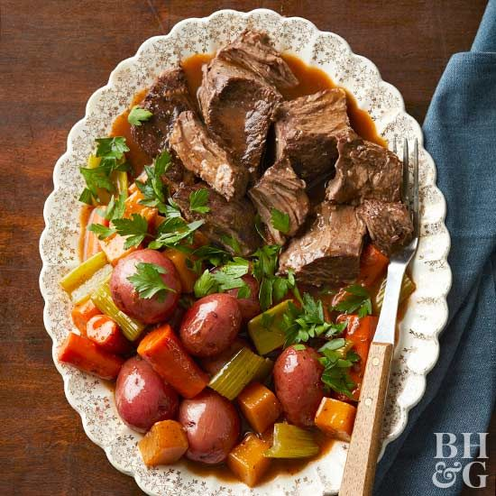 Pot roast and potatoes remind us of Mom's Sunday dinners.