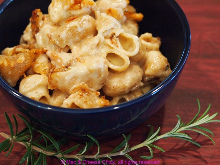 Irish Cheddar Mac and Cheese with Rosemary and French Fried Onions - Mac & Cheese Chick