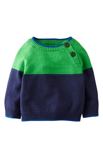 Mini Boden 'Essential' Colorblock Cotton  Cashmere Sweater (Baby Boys) available at #Nordstrom