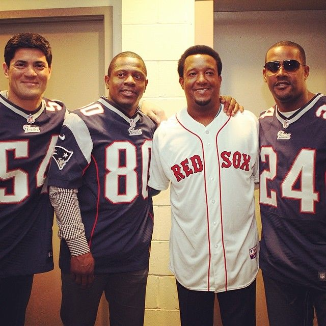 Tedy Bruschi, Troy Brown, Pedro Martinez & Ty Law at Fenway Park for opening day ceremonies, 2014