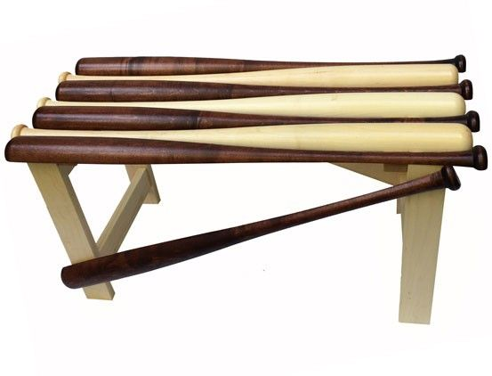Hand crafted baseball bat bench is a handsome addition to any home.  [$249.99]