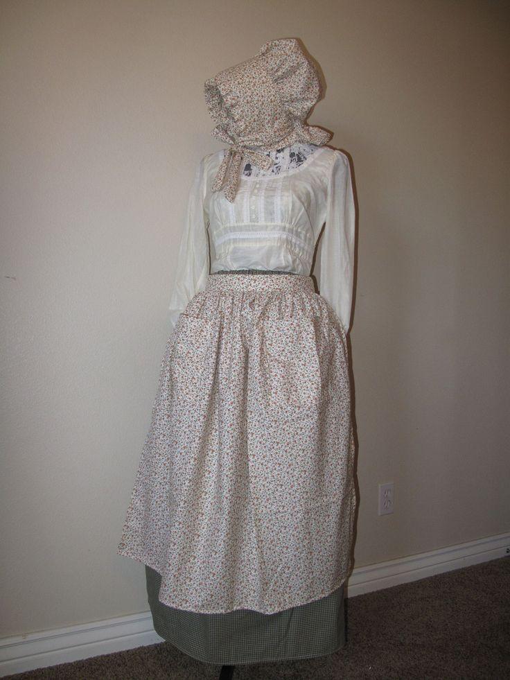 Pioneer clothes: long pioneer skirt, pioneer apron, pioneer bonnet. $50.00, via Etsy.