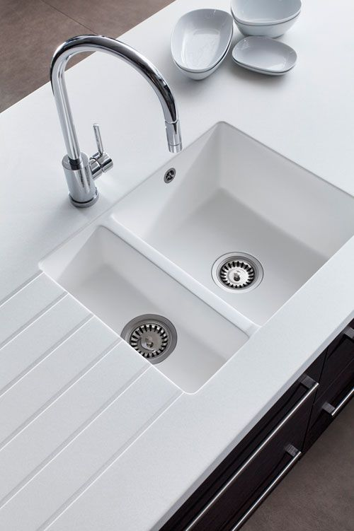 stunning encore glacier white worktop with undercounted white sink think this really works matching the - White Kitchen Sink