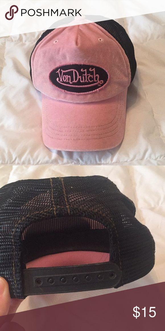 Authentic Von Dutch Hat Pink and black Von Dutch hat with adjustable back. Bought off of here, I only wore once Von Dutch Accessories Hats