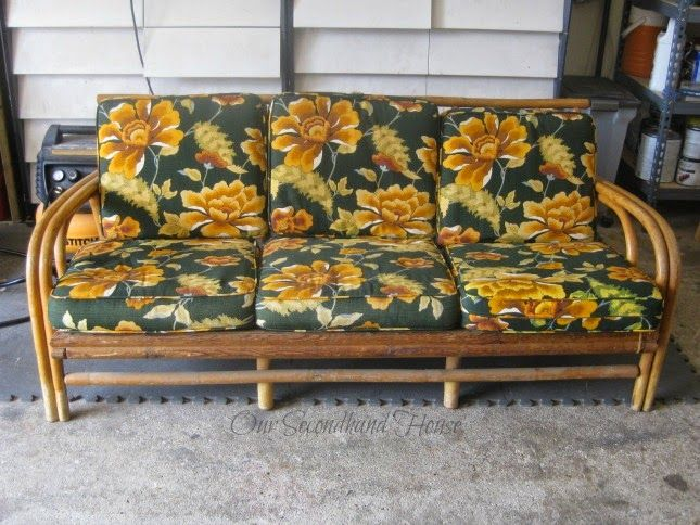 We bought this rattan sofa at Habitat for Humanity's ReStore about 6 months ago.  It's been sitting up on one end taking up valuable space in the garage for the…